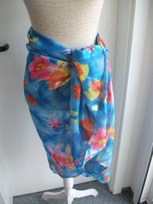 großes Tuch / Strandtuch / Paero - 110x160cm, blau mit Blumen - Neu