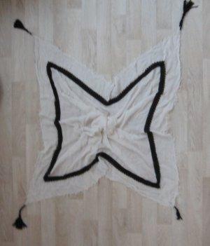 Großes weißes Tuch mit schwarzer Spitz