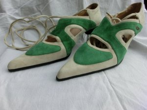 High-Front Pumps green-oatmeal suede