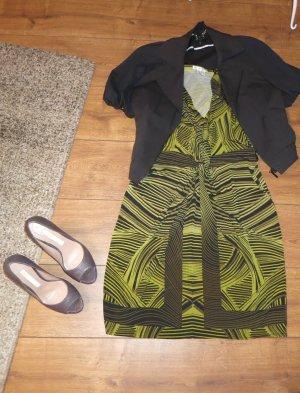 grün braun schwarz gemustertes Kleid in Knotenoptik Gr 38