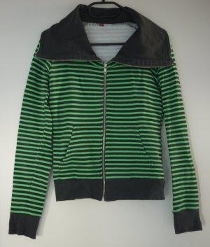 Grün-graue Sweat-Jacke mit Reißverschluss, S-XS, Streifen, Cardigan