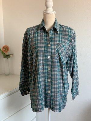 Grün kariertes Vintage Langarm Holzfäller Hemd