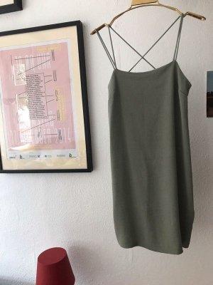 grün khaki kleid bodycon dünne träger fein rip
