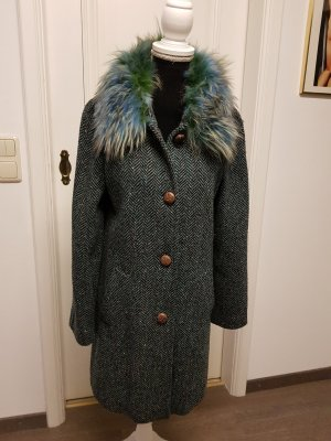 Short Coat cadet blue-petrol wool
