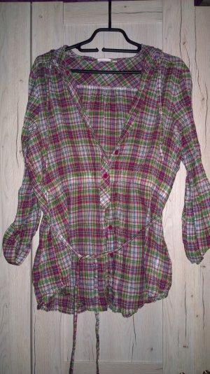Grün-Pink gemusterte Bluse mit Kapuze