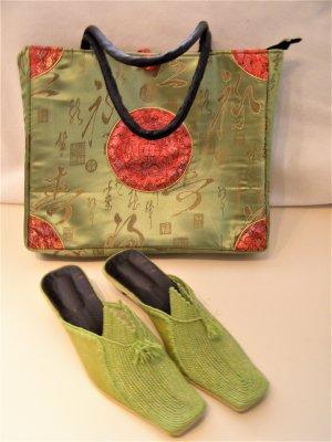 Shopper vert olive-rouge soie