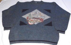 Grün/schwarz melierter Pullover aus Italien Casual Tracht Apres Ski Party Weihnachten