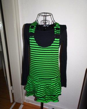 Grün schwarz queergestreiftes Kleid
