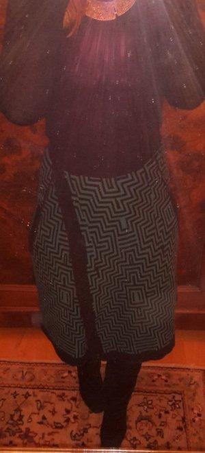 Grün-schwarzer Wickelrock aus Baumwolle von SONIA RYKIEL Größe 36