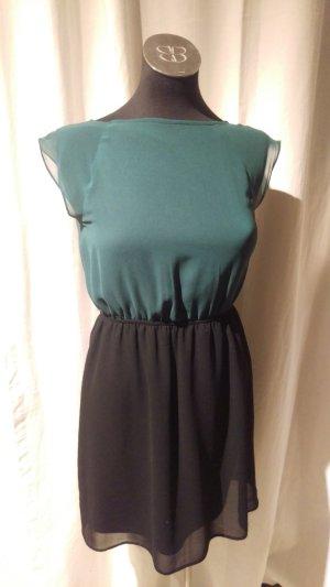 Grün-schwarzes Kleid