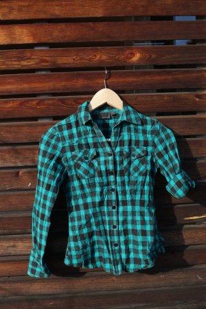 grün-türkis/schwarzes Holzfällerhemd von Gatonegro 140/146
