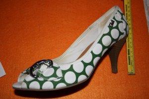 Grün-weiß gepunktete PeepToes