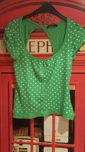 Grün-weiss gepunktetes tshirt