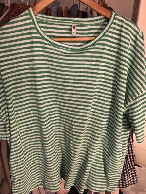 Hema Gestreept shirt wit-groen
