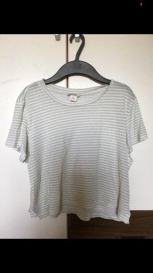 Grün-Weißes, bauchfreies Tshirt