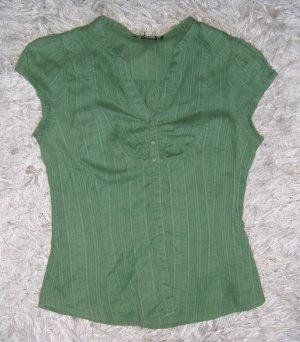 grüne Bluse, kurzarm, ohne Kragen, H&M, Gr. 34