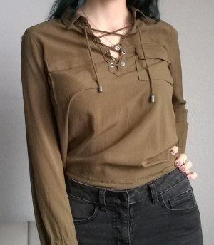 ❤️ Grüne Bluse mit geschnürtem Ausschnitt ❤️ laceup Top