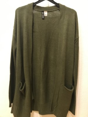 H&M Divided Long Knitted Vest dark green