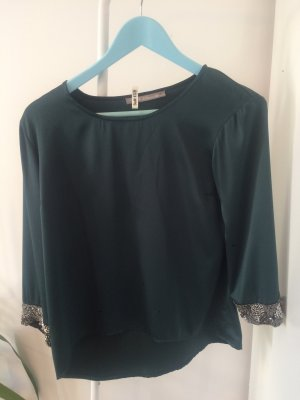 Grüne edle Bluse mit Strass an den Ärmeln