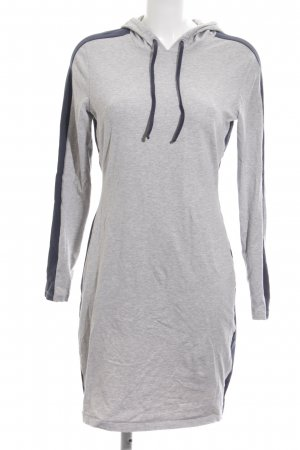 Grüne Erde Hooded Dress light grey-blue flecked casual look