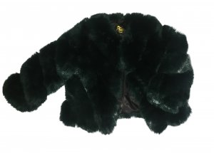 Veste en fausse fourrure vert gazon-vert forêt fourrure artificielle