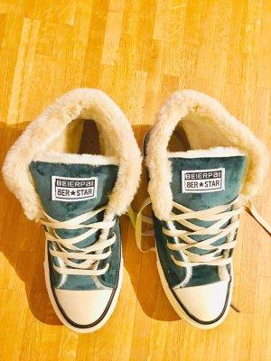 Grüne Fell Sneaker Fakefur
