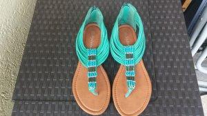 Toe-Post sandals green imitation leather