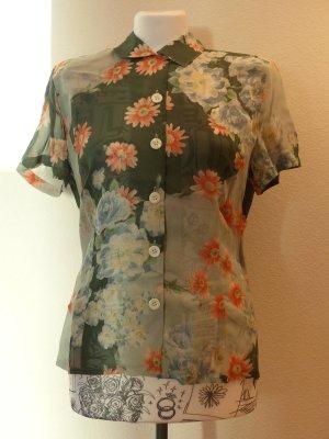 grüne halbdurchsichtige Bluse mit Blumenmuster von Betty Barclay