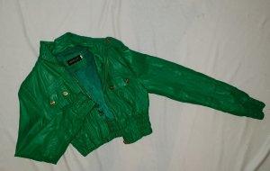 Grüne Kunstlederjacke