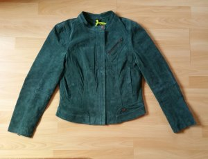 Freaky Nation Leather Jacket dark green-forest green suede