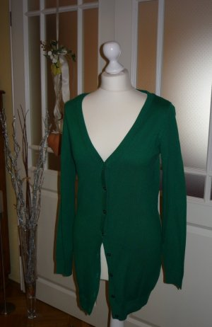 grüne Long-Strickjacke