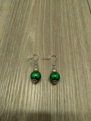 Orecchino a pendente argento-verde bosco