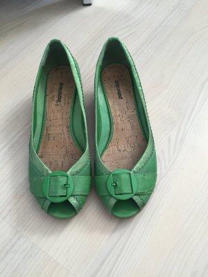 Grüne PeepToes Damen Schuhe Gr. 37 kleiner Keilabsatz