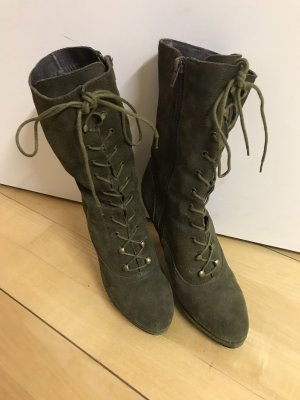 Lace-up Booties olive green