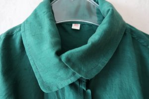 Tie-neck Blouse forest green silk