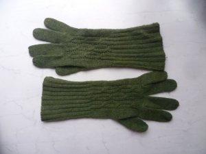 Grüne Strickhandschuhe, Zopfmuster, Winter, Herbst