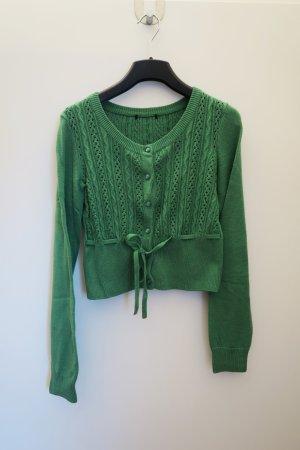 Grüne Strickjacke mit Schleife