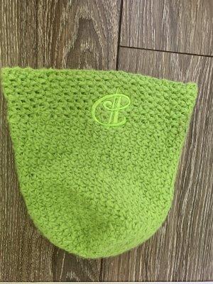 Sombrero de punto verde neón