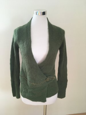3 Suisses Knitted Wrap Cardigan forest green mixture fibre