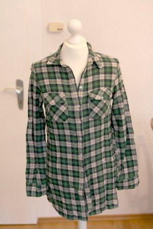 Grüne weiche Bluse wie Flanell kariert und herbstlich