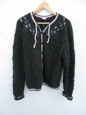 grüne Weste Strick 100% Wolle Vintage Retro Tracht Gr. L
