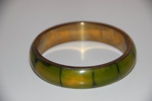 Bangle olive green-gold-colored