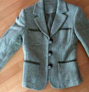 Grüner Blazer im Tweed Stil mit Samt abgesetzt
