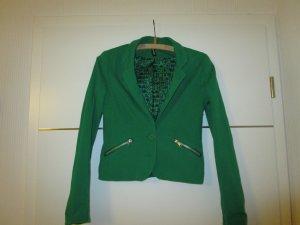 Grüner Blazer mit Reißverschluss Taschen