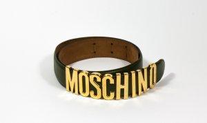 Moschino Cinturón de cuero color oro-verde oscuro Cuero