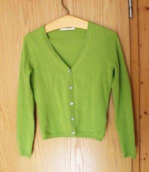 Grüner hochwertiger Cardigan aus echter Kaschmirwolle - FAIR TRADE - WIE NEU!