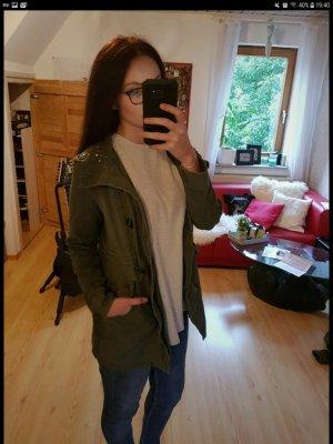 Grüner Mantel Jacke mit Strasssteinen