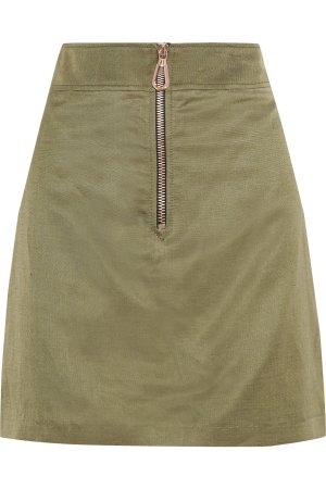 Sandro High Waist Skirt khaki-bronze-colored