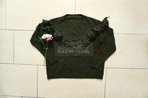 Grüner Pullover mit Volant Rüschen