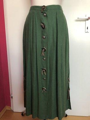 Falda folclórica verde bosque-verde Lino